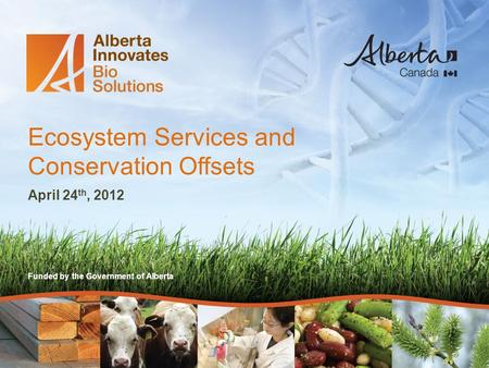 Funded by the Government of Alberta Ecosystem Services and Conservation Offsets April 24 th, 2012.