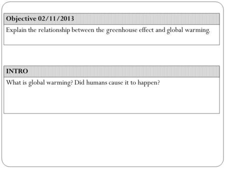 INTRO Objective 02/11/2013 Explain the relationship between the greenhouse effect and global warming. What is global warming? Did humans cause it to happen?