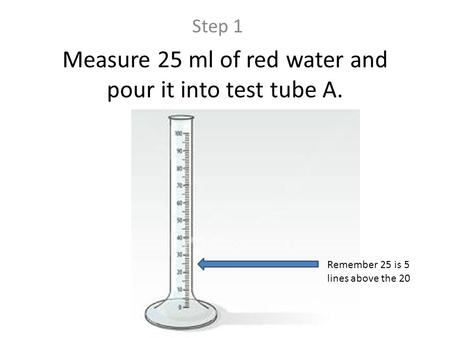 Measure 25 ml of red water and pour it into test tube A. Step 1 Remember 25 is 5 lines above the 20.