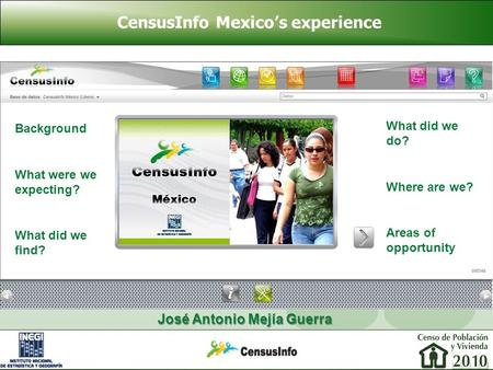 CensusInfo Mexico's experience José Antonio Mejía Guerra Background What were we expecting? What did we find? What did we do? Where are we? Areas of opportunity.