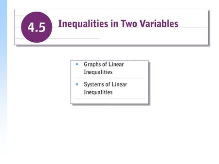 Graphs of Linear Inequalities When the equal sign in a linear equation is replaced with an inequality sign, a linear inequality is formed. Solutions of.