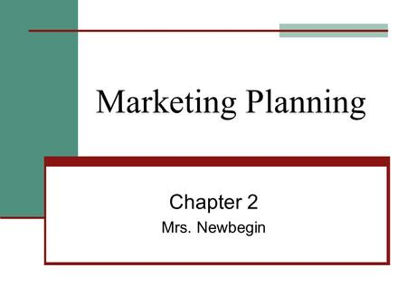 Marketing Planning Chapter 2 Mrs. Newbegin. The Marketing Plan SWOT Analysis – An assessment that can foster the business' success and what could make.