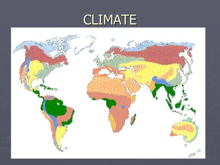 CLIMATE. CLIMATE 3 MAIN TYPES ► POLAR --- high latitude – 60 – 90 degrees N/S. Very low Temps. ► Temperate (Middle-Latitude) --- middle latitude 30 –