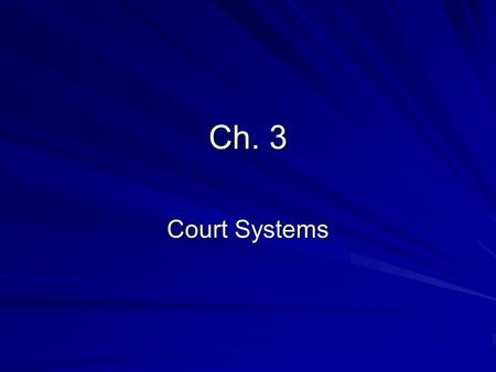 Ch. 3 Court Systems. Ch. 3-1 Dispute Resolution Litigation- Allowing a court to resolve a dispute. 2 alternatives to litigation: –Mediator: Tries to develop.