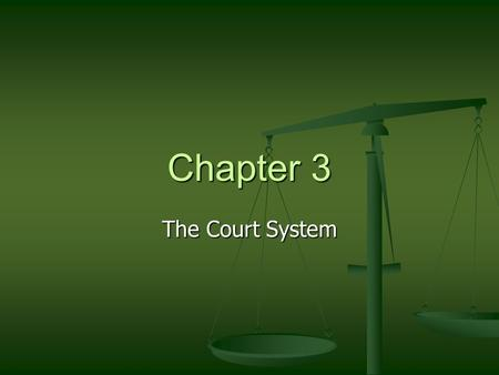 Chapter 3 The Court System. The Right to a Jury Trial Jury Jury Why would someone want this? Why would someone want this? Bench Trial Bench Trial Held.
