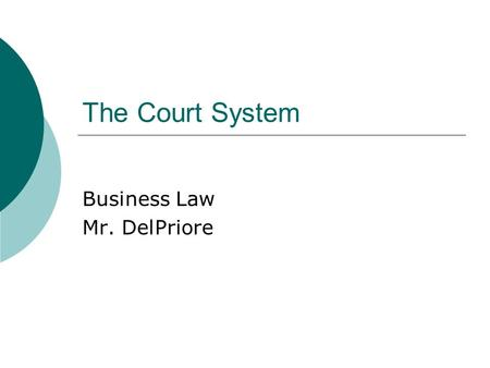 "The Court System Business Law Mr. DelPriore. Privately Resolved Disputes  Don't go to court too fast ""I'll sue you."" ""I'll see you in court."" ""My daddy."