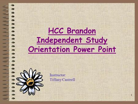 1 HCC Brandon Independent Study Orientation Power Point Instructor: Tiffany Cantrell.