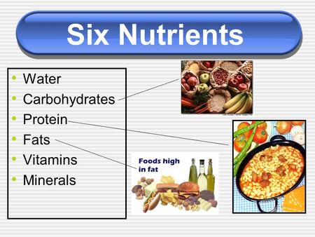 Six Nutrients Water Carbohydrates Protein Fats Vitamins Minerals.