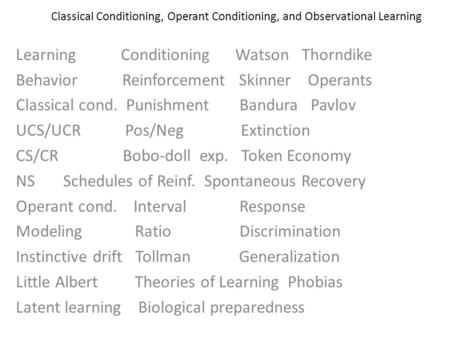 Classical Conditioning, Operant Conditioning, and Observational Learning Learning Conditioning Watson Thorndike Behavior Reinforcement Skinner Operants.