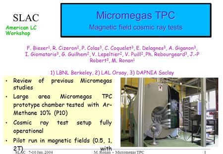 SLAC 7-10 Jan. 2004M. Ronan - Micromegas TPC1 Micromegas TPC Magnetic field cosmic ray tests Review of previous Micromegas studies Review of previous Micromegas.