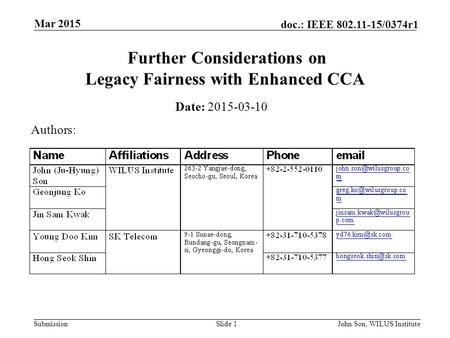 Submission doc.: IEEE 802.11-15/0374r1 Mar 2015 John Son, WILUS InstituteSlide 1 Further Considerations on Legacy Fairness with Enhanced CCA Date: 2015-03-10.