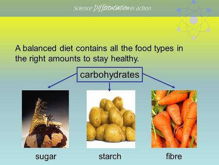 Science Differentiation in action carbohydrates sugarfibre A balanced diet contains all the food types in the right amounts to stay healthy. starch.