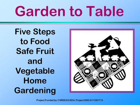 <strong>Garden</strong> to Table <strong>Five</strong> Steps to Food Safe Fruit and Vegetable Home <strong>Gardening</strong> Project Funded by CSREES/USDA. Project 2003-5111001713.