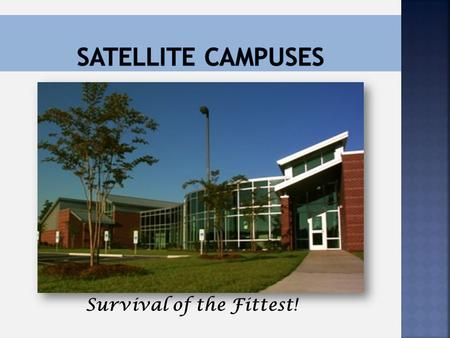 Survival of the Fittest!. Allison Jeffords – Program Manager Central Carolina Technical College Kershaw County – <strong>Satellite</strong>/Outreach 1125 Little Street.