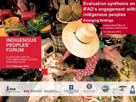 Evaluation synthesis on IFAD's engagement with indigenous peoples Emerging findings Independent Office of Evaluation of IFAD (IOE) 12 February 2015.