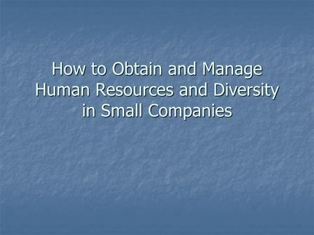 How to Obtain and Manage Human Resources and Diversity in Small Companies.