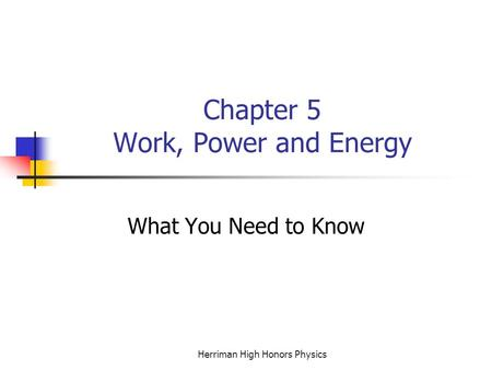 Herriman High Honors Physics Chapter 5 Work, Power and Energy What You Need to Know.
