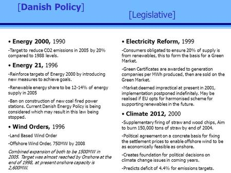 [Legislative] [Danish Policy] Energy 2000, 1990 -Target to reduce CO2 emissions in 2005 by 20% compared to 1988 levels. Energy 21, 1996 -Reinforce targets.