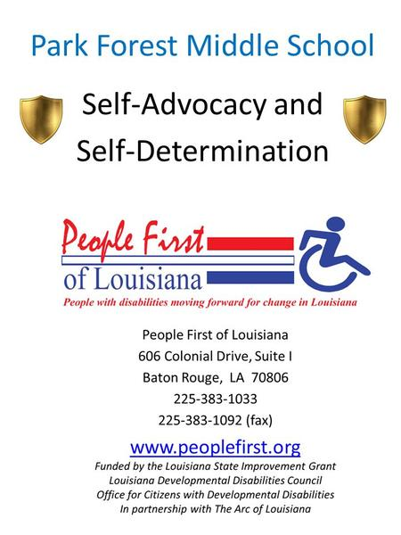Park Forest Middle School Self-Advocacy and Self-Determination.