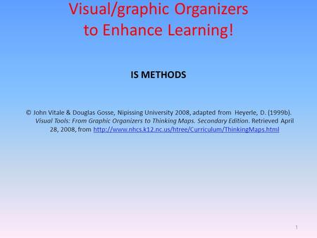 Visual/graphic Organizers to Enhance Learning!