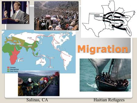 Migration Haitian RefugeesSalinas, CA. KEY ISSUES Why do people migrate? Where are migrants distributed? Why do migrants face obstacles? Why do people.