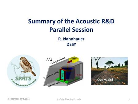 Summary of the Acoustic R&D Parallel Session R. Nahnhauer DESY September 23rd, 2011 IceCube Meeting Uppsala1 x AAL Quo vadis?