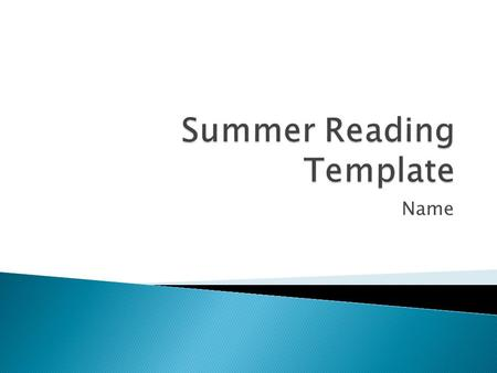 Summer Reading Template
