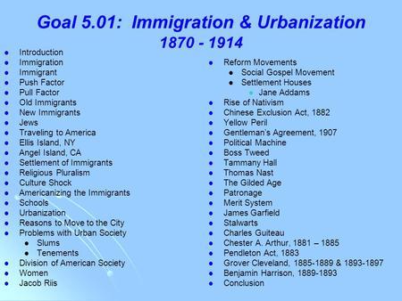Ch 15 Immigration Urbanization Introduction Immigration