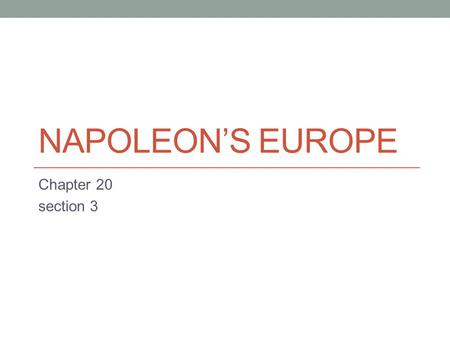 Napoleon's Europe Chapter 20 section 3.
