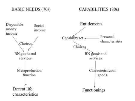 BASIC NEEDS (70s)CAPABILITIES (80s) Disposable money income Social income Entitlements Choices BN goods and services Capability set Personal characteristics.