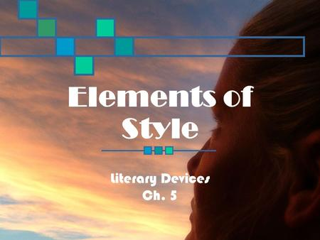 Elements of Style Literary Devices Ch. 5. Reading Standard 3.6 Identify significant literary devices that define a writer's style, and use those elements.