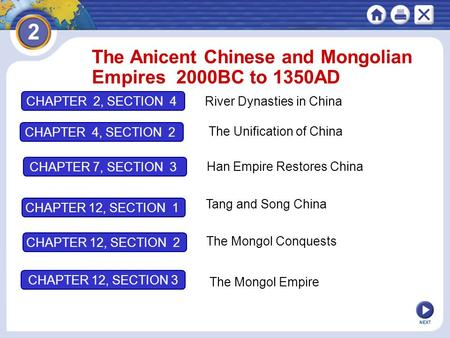 The Anicent Chinese and Mongolian Empires 2000BC to 1350AD