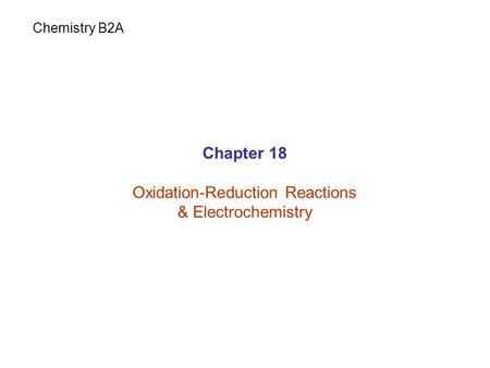 Oxidation-Reduction Reactions