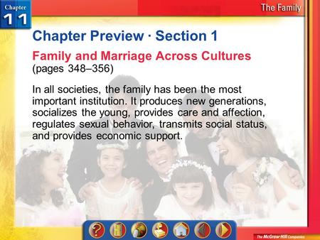 Chapter Preview 1 Chapter Preview · Section 1 Family and Marriage Across Cultures (pages 348–356) In all societies, the family has been the most important.