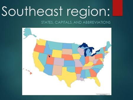 Map 8 Capitals Of Canada.States Of The Southeast Region Ppt Video Online Download