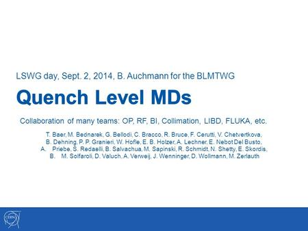 LSWG day, Sept. 2, 2014, B. Auchmann for the BLMTWG Collaboration of many teams: OP, RF, BI, Collimation, LIBD, FLUKA, etc. T. Baer, M. Bednarek, G. Bellodi,