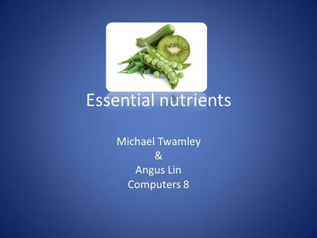 Essential nutrients Michael Twamley & Angus Lin Computers 8.