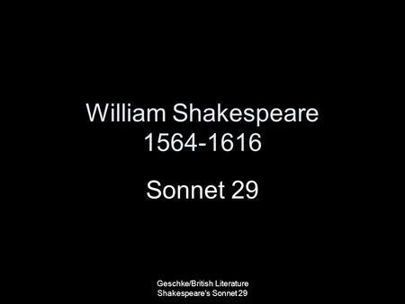 when was sonnet 29 written