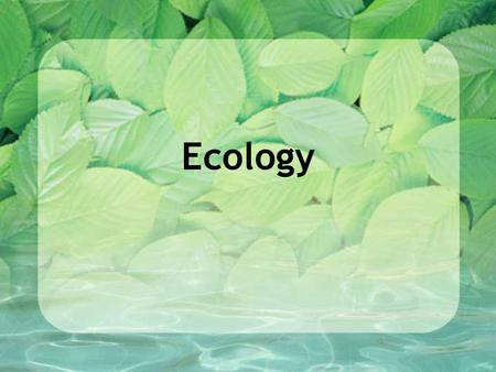Ecology. Ecology is the study of the interactions among organisms and their environment.