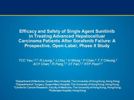 Efficacy and Safety of Single Agent Sunitinib in Treating Advanced Hepatocelluar Carcinoma Patients After Sorafenib Failure: A Prospective, Open-Label,