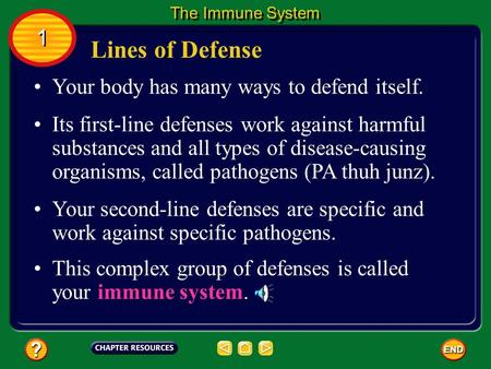 Lines of Defense 1 Your body has many ways to defend itself.
