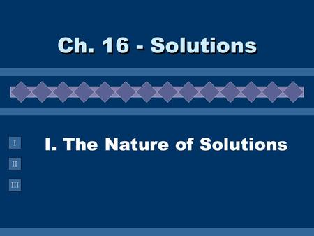 II III I I. The Nature of Solutions Ch. 16 - Solutions.