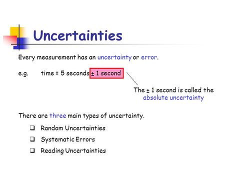 The ± 1 second is called the absolute uncertainty Every measurement has an uncertainty or error. e.g. time = 5 seconds ± 1 second There are three main.