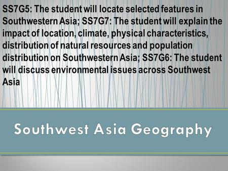 Southwest Asia Geography