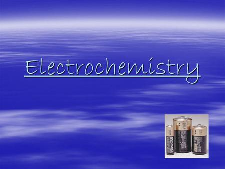 Electrochemistry. Electrochemical Cells  Electrons are transferred between the particles being oxidized and reduced  Two types –Spontaneous = Voltaic.