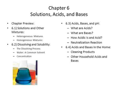 Chapter 6 Solutions, Acids, and Bases