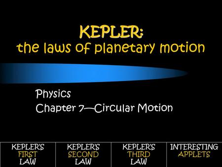 KEPLER: KEPLER: the laws of planetary motion Physics Chapter 7—Circular Motion KEPLER'S FIRST LAW KEPLER'S SECOND LAW KEPLER'S THIRD LAW INTERESTING APPLETS.