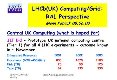 08/06/00 LHCb(UK) Meeting Glenn Patrick LHCb(UK) Computing/Grid: RAL Perspective Glenn Patrick 08.06.00 Central UK Computing (what.