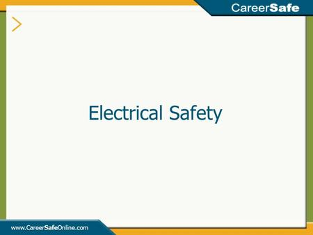Electrical Safety  INSTRUCTOR'S NOTES: