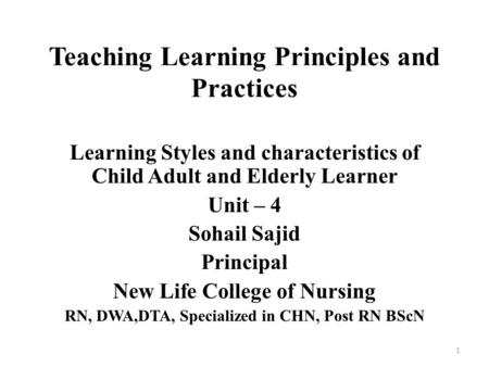 learning style characteristics of adult learners